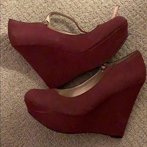 Burgundy Wedge Heels